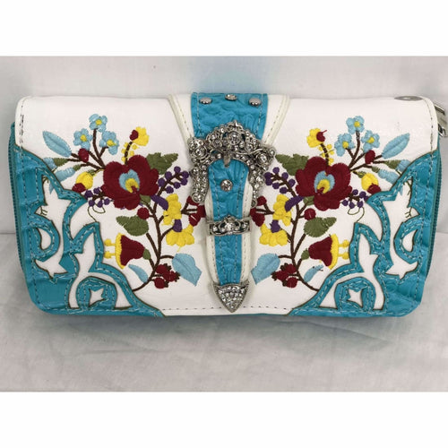Cowgirl Trendy Western Flower Embroidered Wallet W/wrist Strap