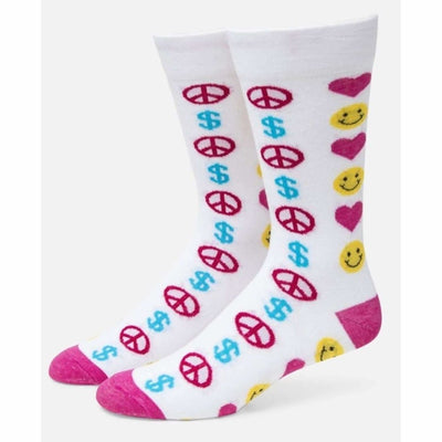 E. G. Smith Womens In Love We Trust Crew Sock Made In Usa 9-13 / White Socks & Tights