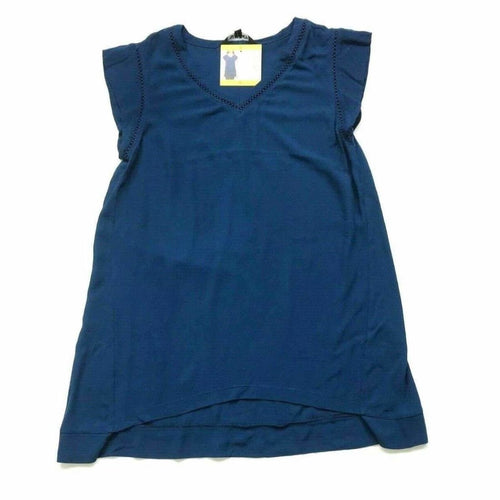 Ellen Tracy Womens Short Sleeve V-Neck Tunic Top S-Blue Tops & Blouses