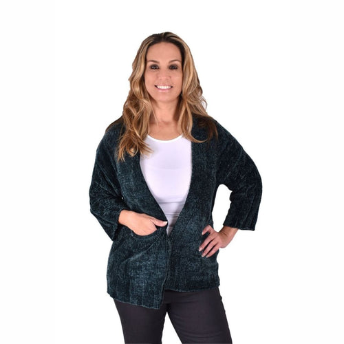 Ethyl Womens The Adley-Delphine Chenille Cardigan Green S Sweaters