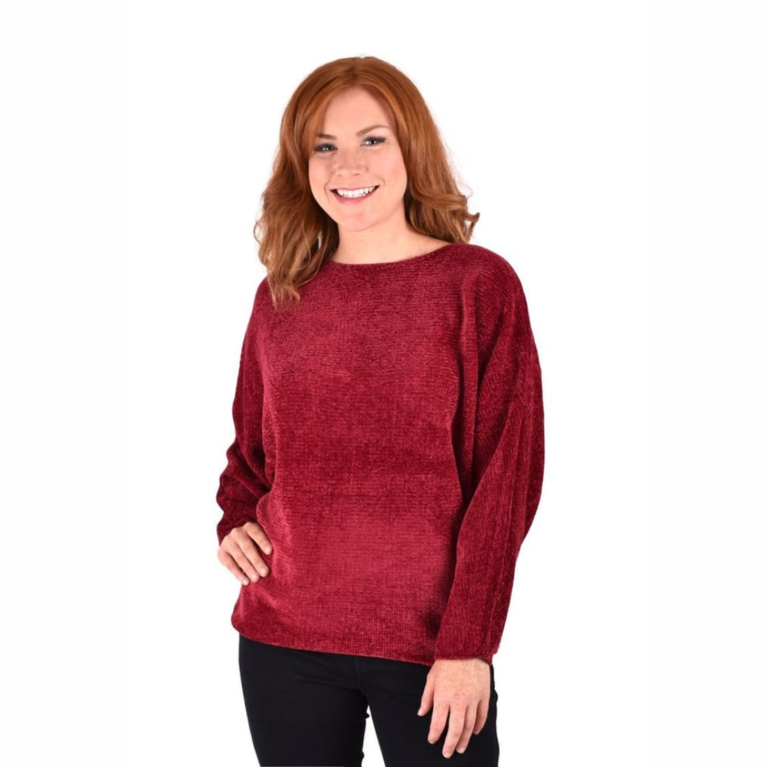 Ethyl Womens The Amari-Garland Chenille Boat Neck Sweater S / Burgundy Sweaters
