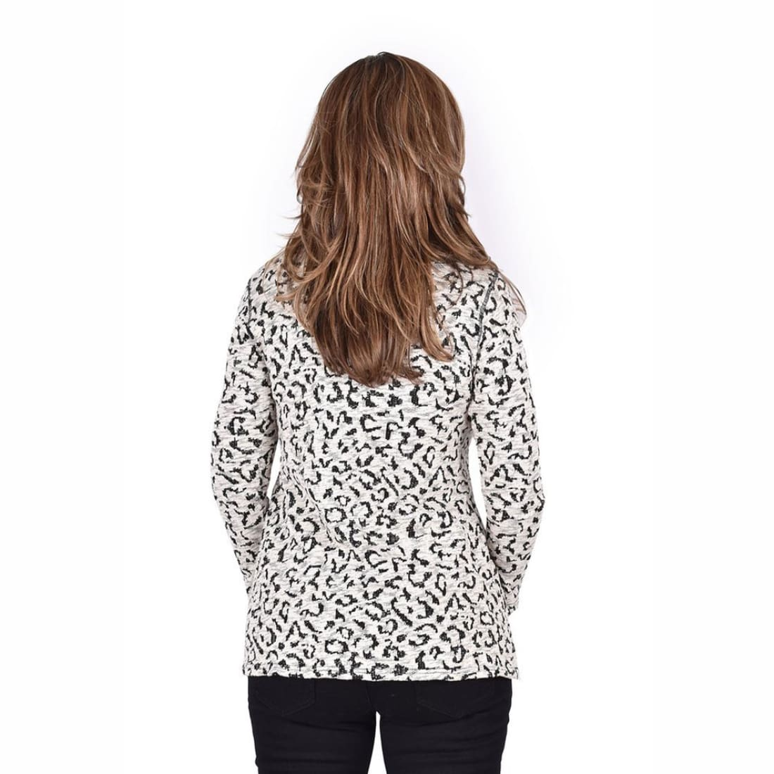 Ethyl Womens The Tiana-Violet Leopard Pullover Sweater Sweaters