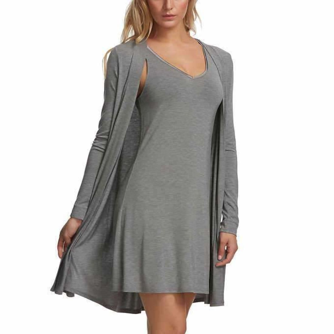 Felina Womens 2 Piece Tank Chemise And Wrap Set S / Grey Dresses