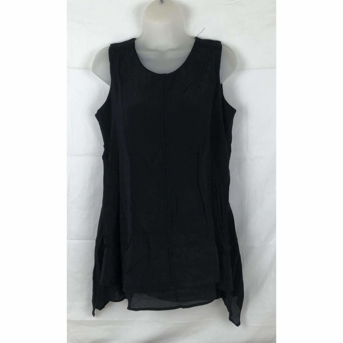 Fever Womens Lightweight Double Layer Woven Sleeveless Blouse M / Black Tops & Blouses