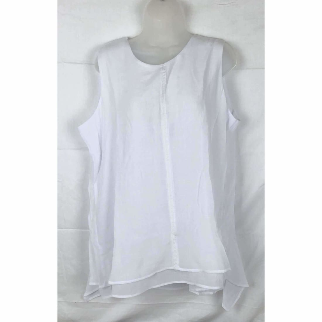 Fever Womens Lightweight Double Layer Woven Sleeveless Blouse Xl / Bright White Tops & Blouses