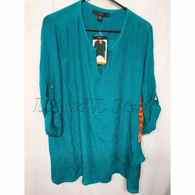 Fever Womens Lightweight V-Neck Roll Tab Blouse Regular / S / Teal Tops & Blouses