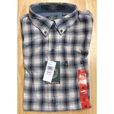 G. H. Bass Mens Fireside Light Weight Flannel Shirt M Regular / Bone White Casual Shirts