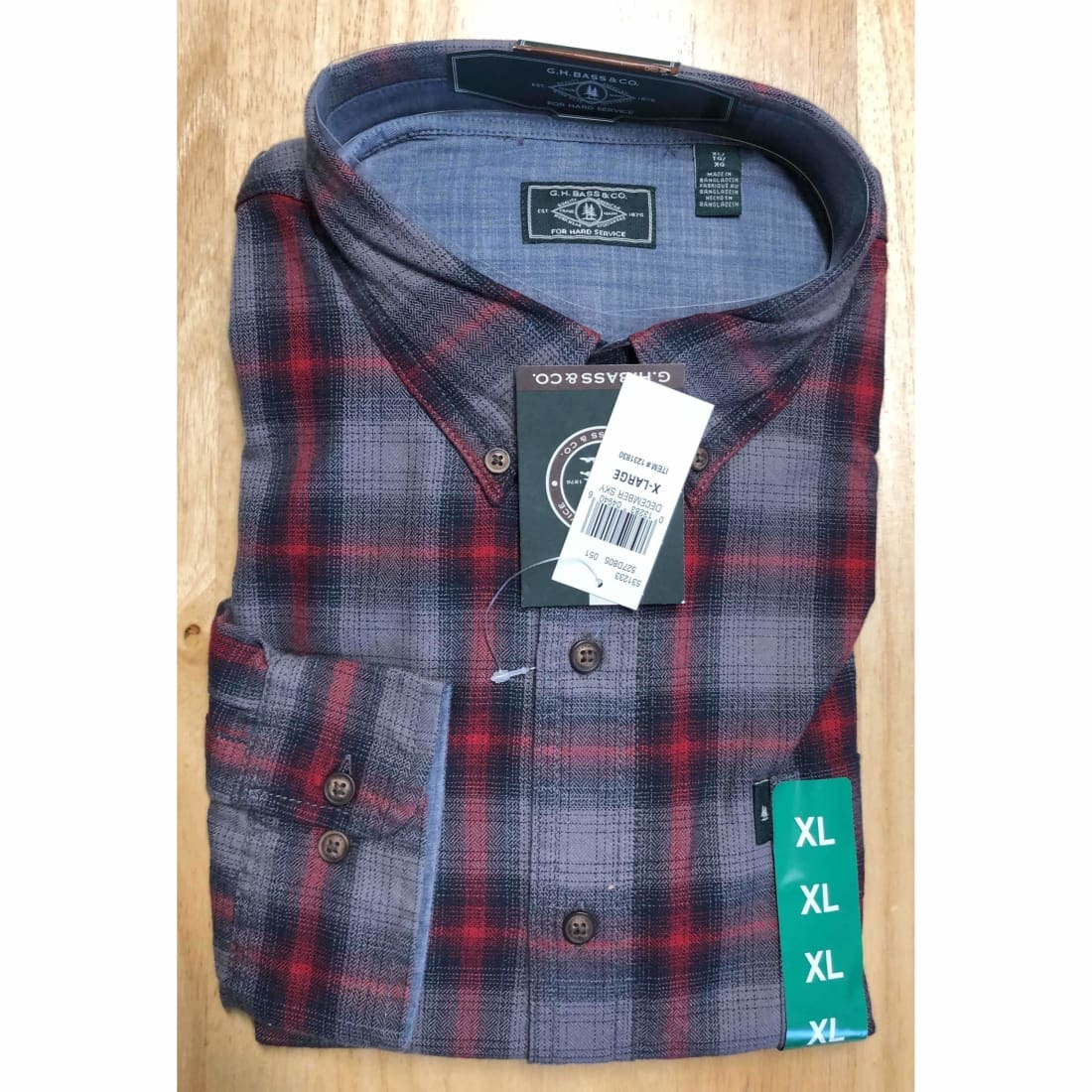 G. H. Bass Mens Fireside Light Weight Flannel Shirt Xl Regular / December Sky Casual Shirts