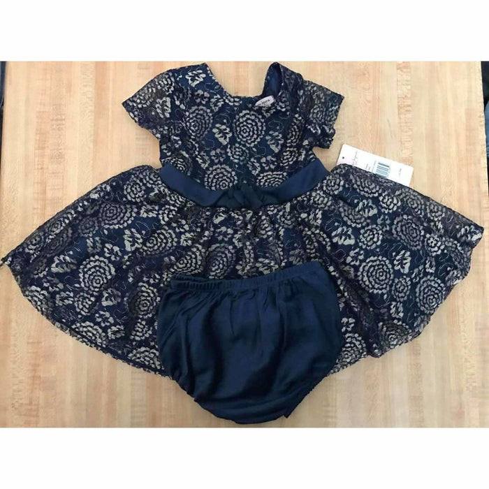 Girls Nanette Lepore Baby/toddler Lacy Dress With Diaper Cover 6 Months / Navy W/ Gold Lace Dresses