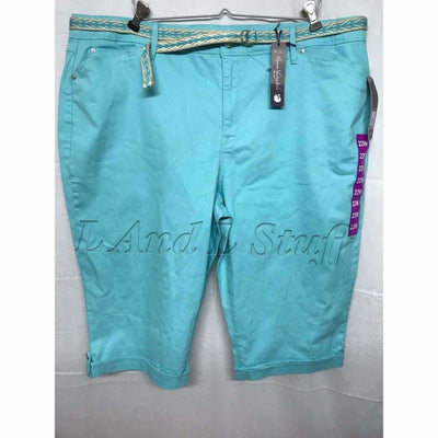 Gloria Vanderbilt Womens Belted Capri Lillian Skimmer Regular / 16 / Aqua Sky Pants & Shorts