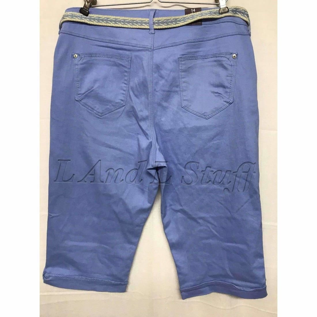 Gloria Vanderbilt Womens Belted Capri Lillian Skimmer Regular / 4 / Spring Hydrangea Pants & Shorts