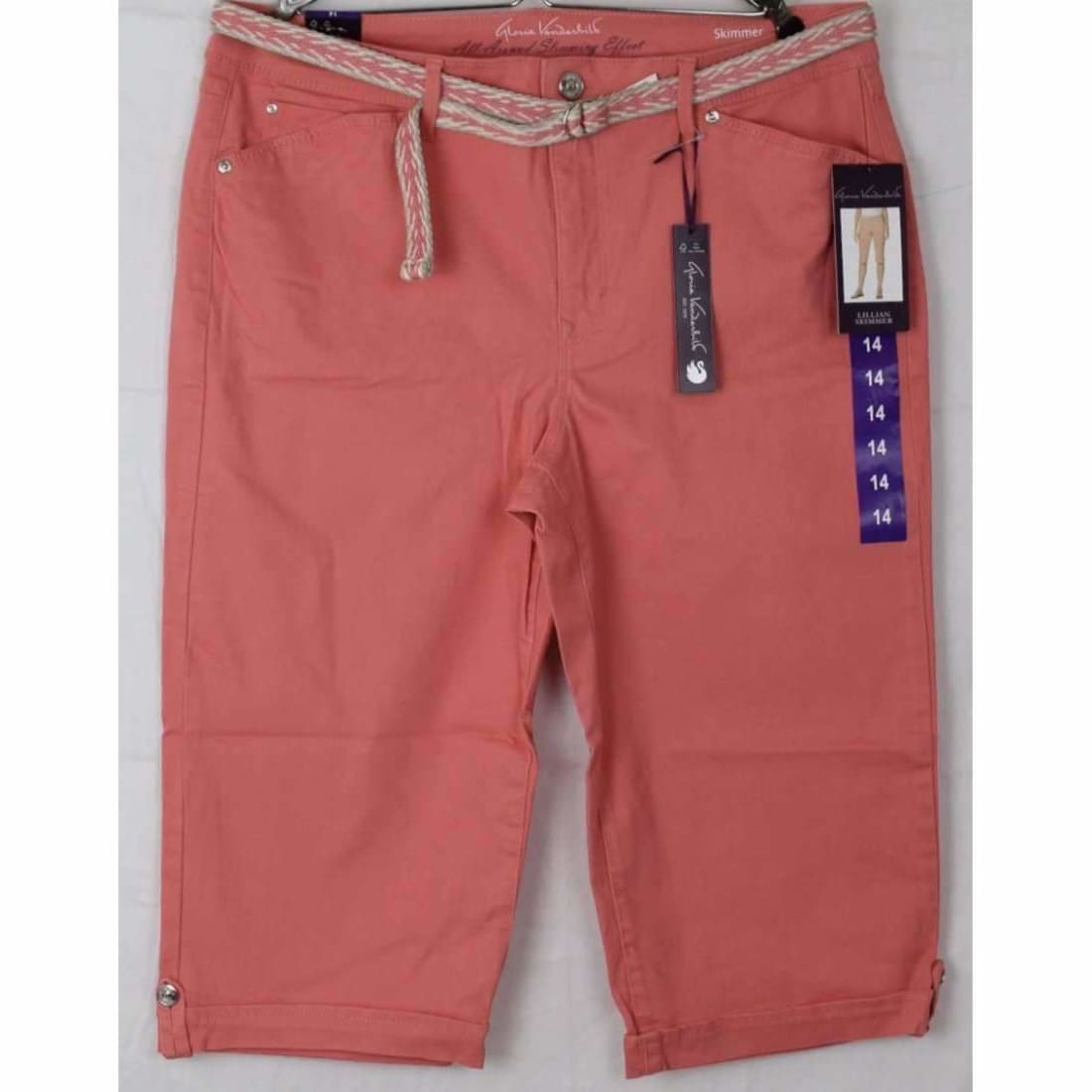 Gloria Vanderbilt Womens Belted Capri Lillian Skimmer Regular / 8 / Bright Hibiscus Pants & Shorts