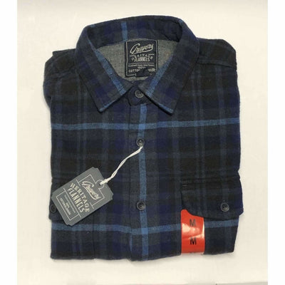 Grayers Mens Heritage Flannels 100% Cotton M / Blue Plaid Casual Shirts