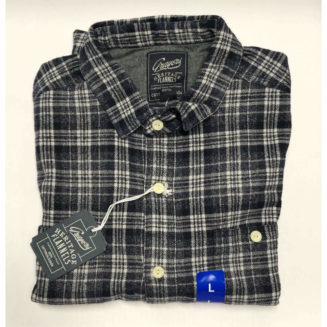 Grayers Mens Heritage Flannels 100% Cotton M / Blue/white Casual Shirts