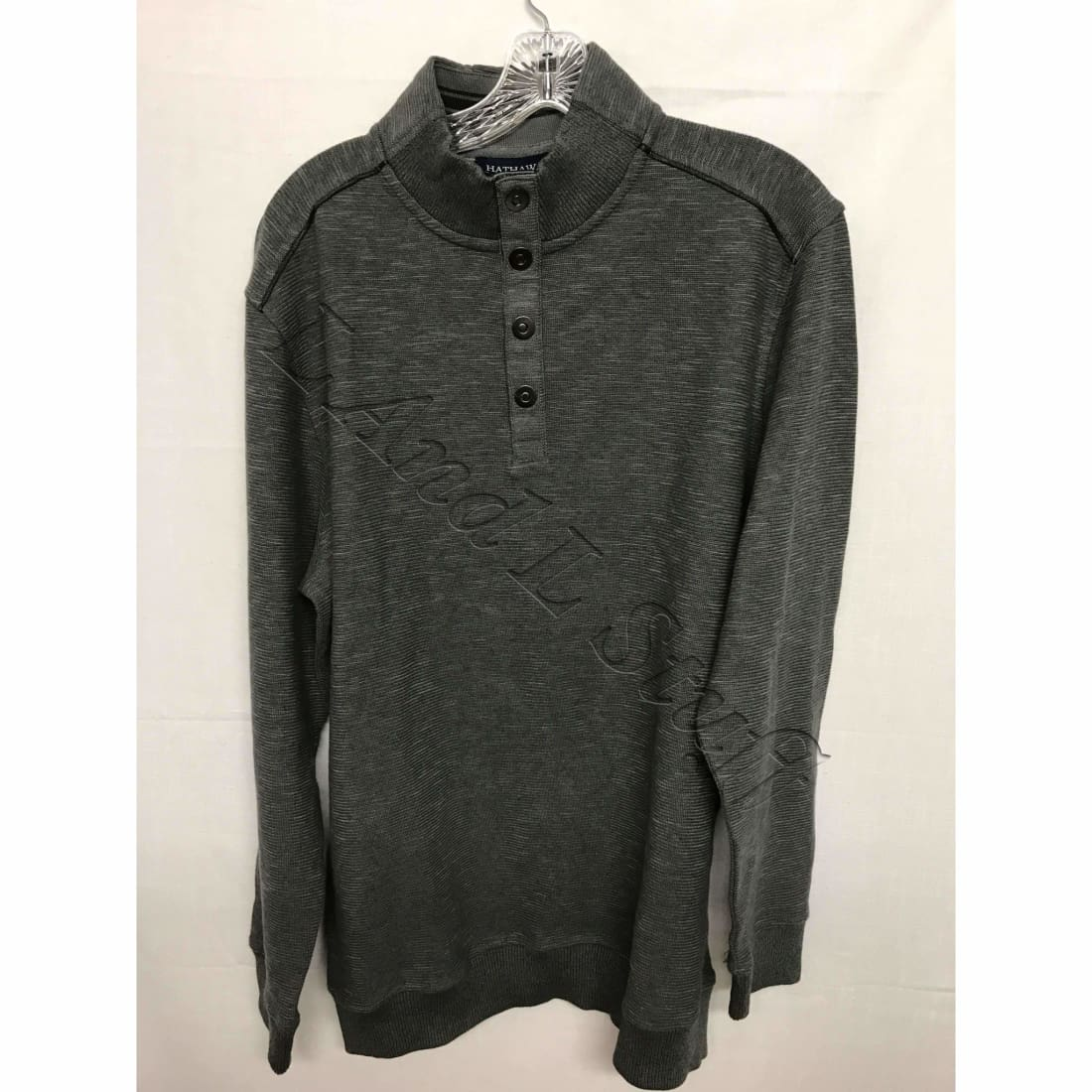 Hathaway Mens Ribbed Knit Sweater Large / Grey Sweaters