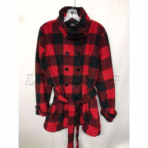 Ike Behar Womens Belted Fleece Jacket Regular / S / Red Plaid Outerwear