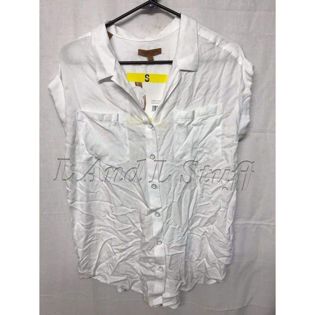 Jachs Girlfriend Button Down Short/ Cap Sleeve Top Womens Tops & Blouses