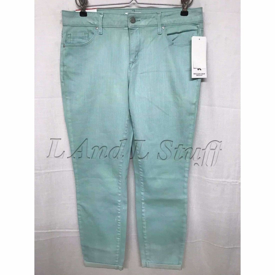 Jessica Simpson Rolled Crop Skinny Super Stretch Jeans Womens 12 / Canal Blue Jeans