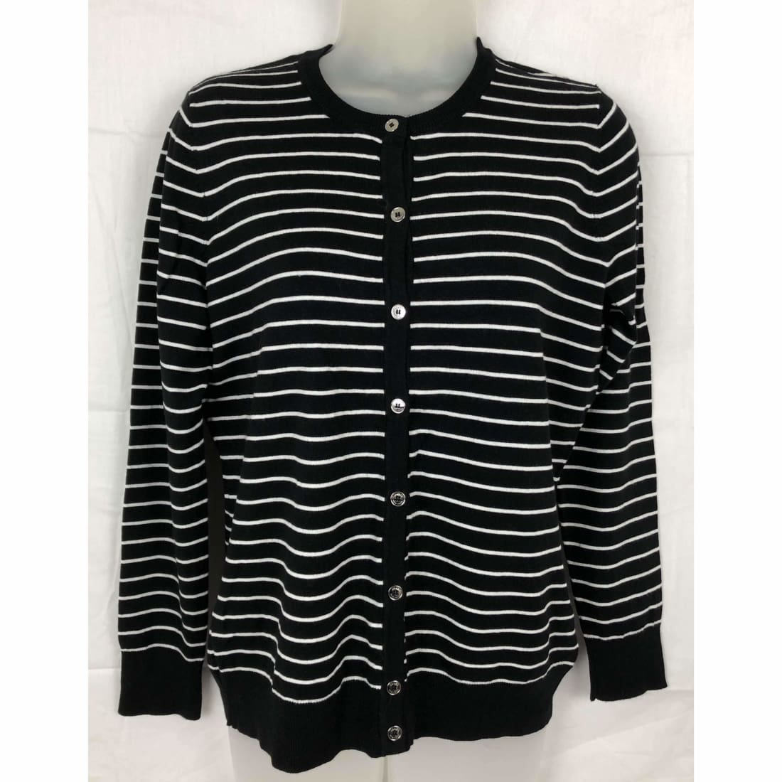 Jones New York Womens Cardigan Button Front Knit Sweater M / Black/white Sweaters