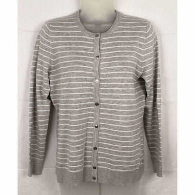 Jones New York Womens Cardigan Button Front Knit Sweater M / Grey/white Sweaters