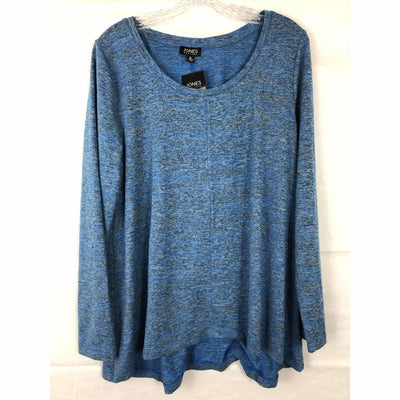 Jones New York Womens Knit Tunic Top Long Sleeve High-Low Hem Xs / Blue Jay Tops & Blouses