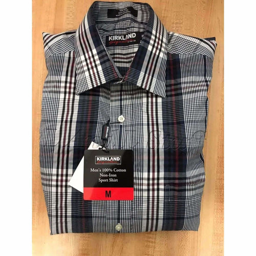 Kirkland Signature 100% Cotton Non -Iron Button Front Sport Shirt Mens Dress Shirts