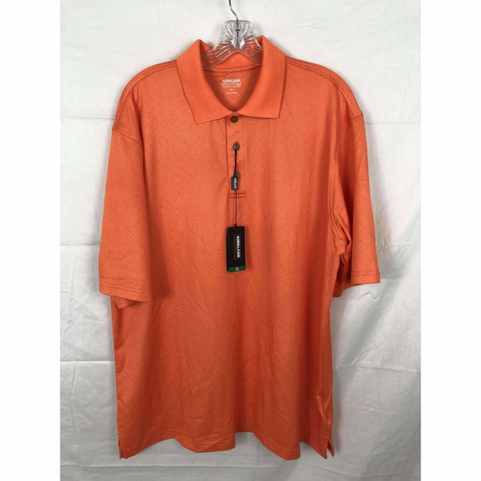 Kirkland Signature Mens Performance Polo Xl / Orange Casual Shirts