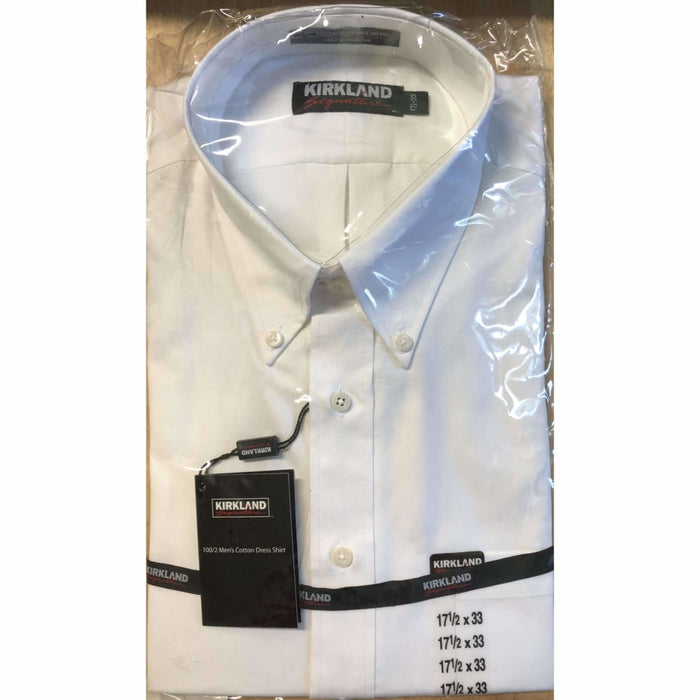Kirkland Signature Mens White Cotton Dress Shirt 17 1/2 X 33 Dress Shirts