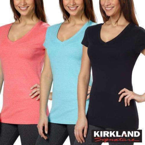 Kirkland Signature Womens Cotton V-Neck Tee Tops & Blouses