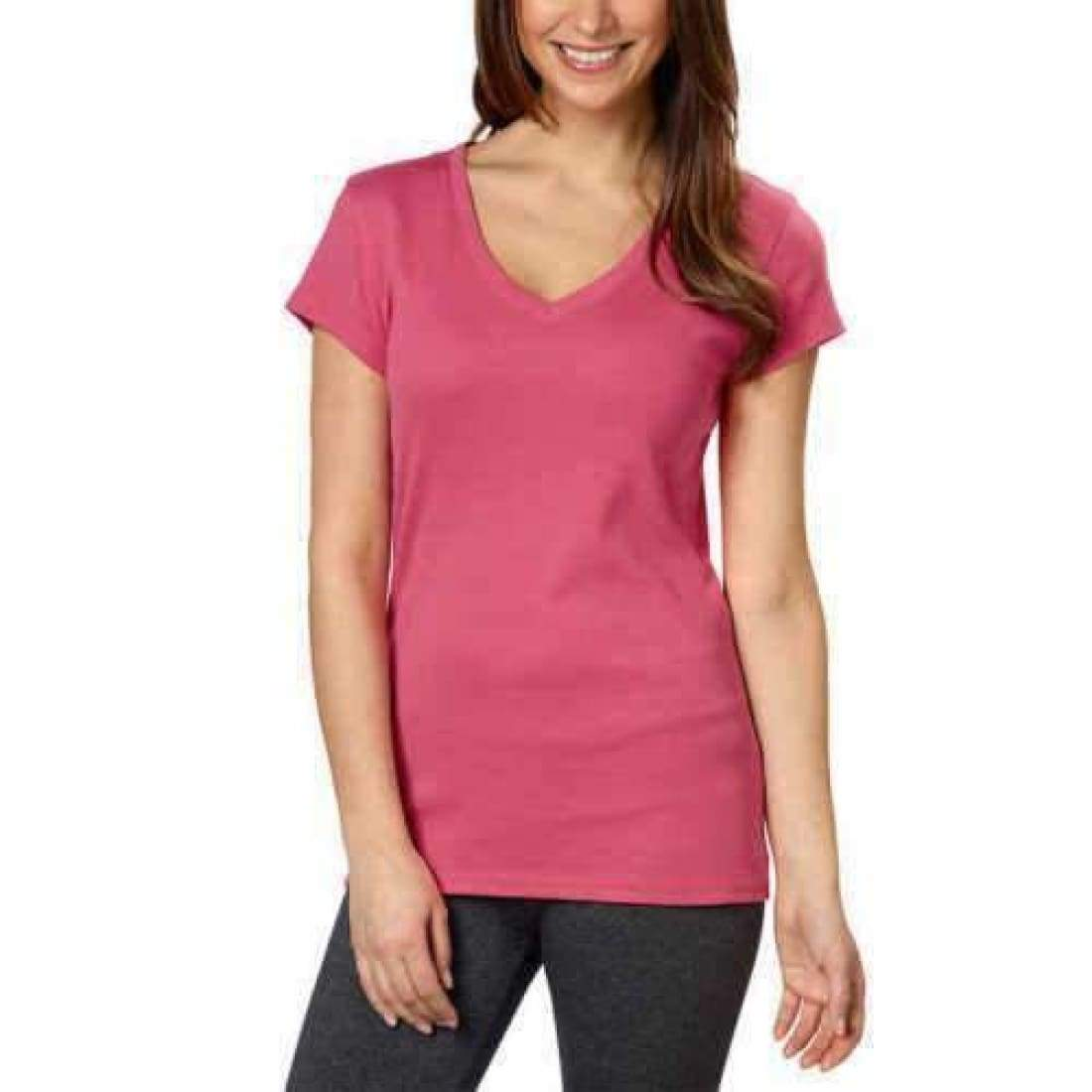 Kirkland Signature Womens Cotton V-Neck Tee M / Pink Tops & Blouses