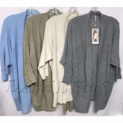 Leo & Nicole Open Front 3/4 Sleeve Cardigan Womens Variety Sweaters