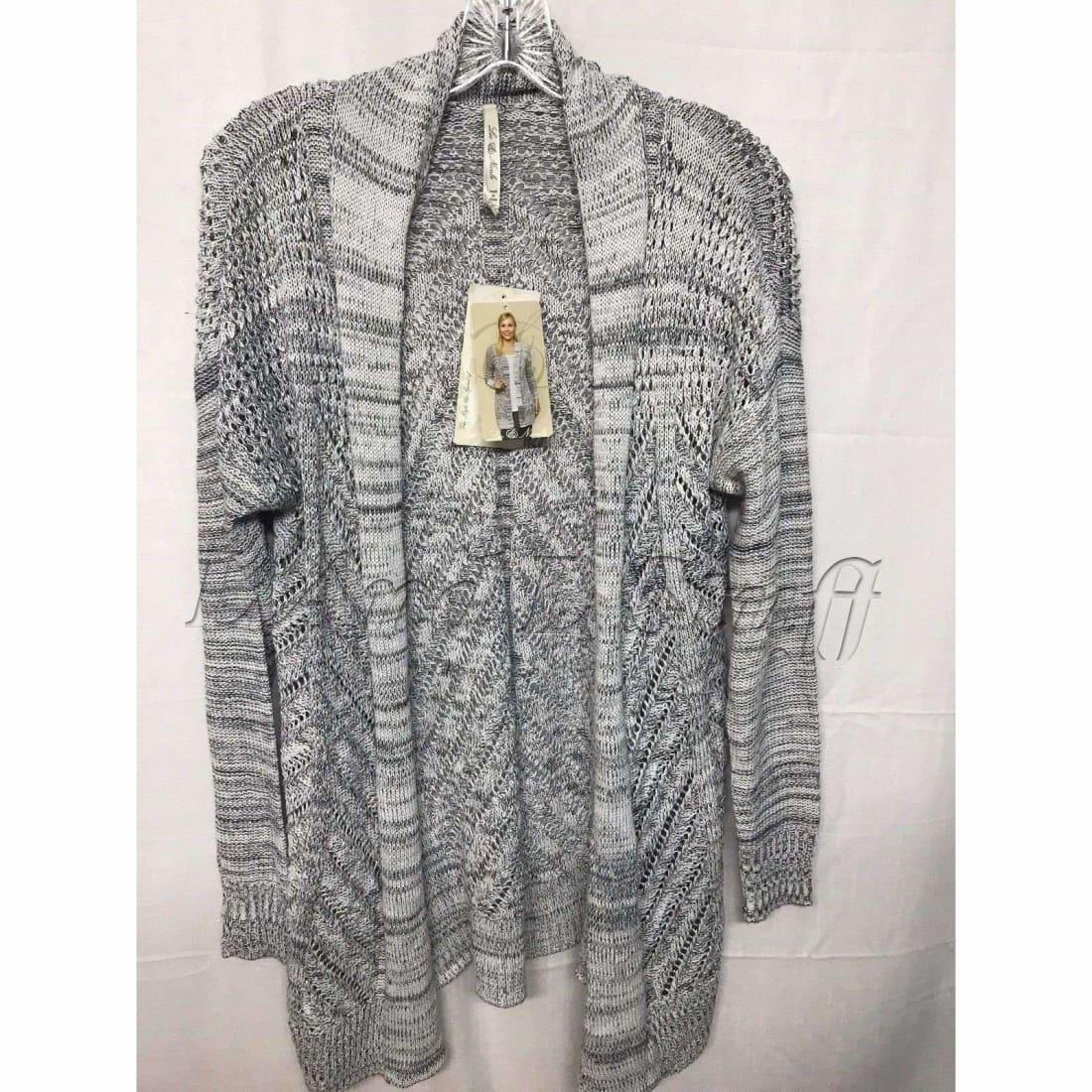 Leo & Nicole Pointelle Open Front Cardigan Womens Regular / S / Black Dove Marl Sweaters