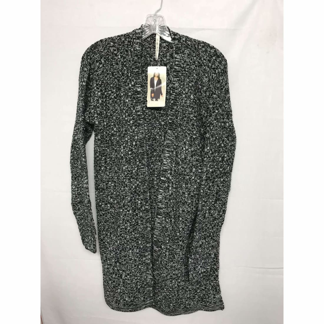Leo & Nicole Womens Open Front Textured Weave Cardigan Large / Black/ Dove Marl Sweaters