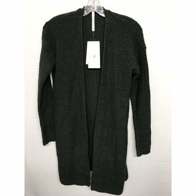 Leo & Nicole Womens Open Front Textured Weave Cardigan Small / Hematite Sweaters