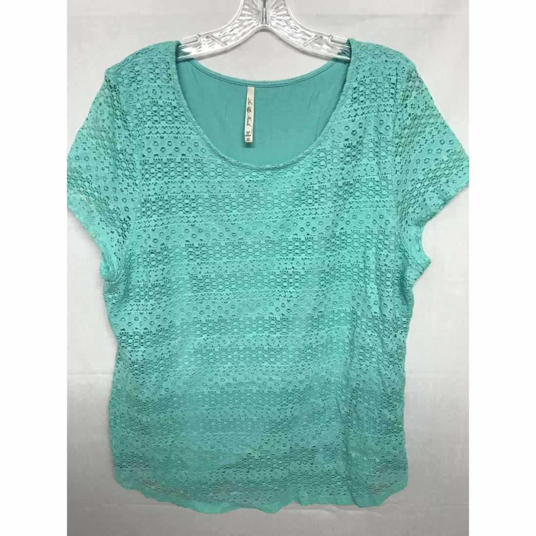 Leo & Nicole Womens Short Sleeve Lace Overlay Blouse M / Teal Tops & Blouses