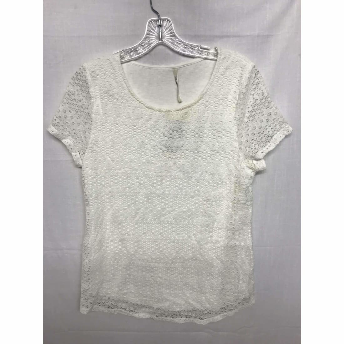 Leo & Nicole Womens Short Sleeve Lace Overlay Blouse S / Off White Tops & Blouses