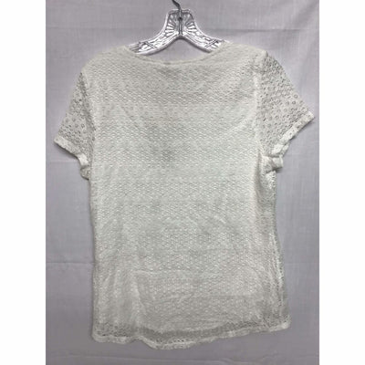 Leo & Nicole Womens Short Sleeve Lace Overlay Blouse Tops & Blouses