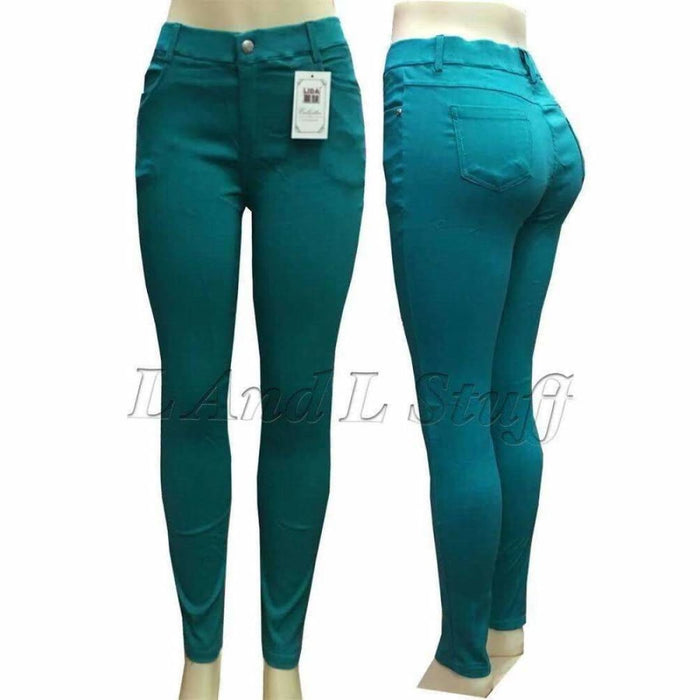Lida Collections Twill Spandex Skinny Pants/ Jegging Regular / S/m / Teal Pants