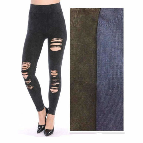 Lida Ripped Destroyed Torn Leggings (L17-03) Black Leggings