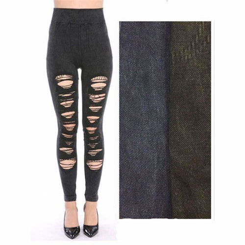 Lida Ripped Torn Destroyed Leggings (L17-01) Black Leggings