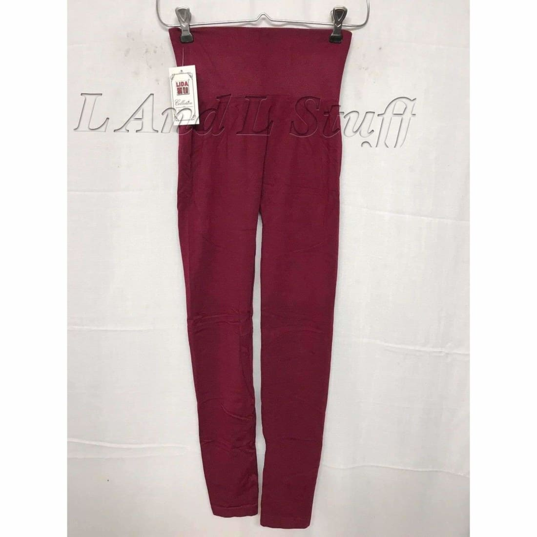 Lida Womens High Waist Leggings One Size Burgundy Leggings