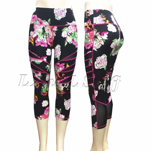 Lida Womens Mesh Panel Yoga Legging Capri Regular / S/m / Floral Athletic Apparel