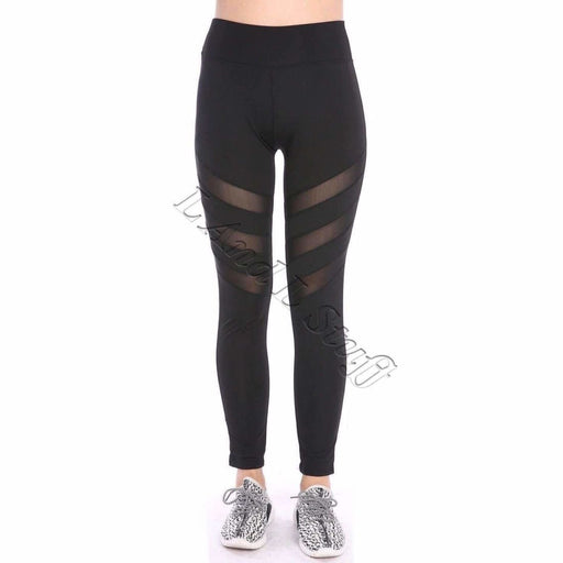 Lida Womens Yoga Leggings With Mesh Panels Regular / S/m / Black Athletic Apparel