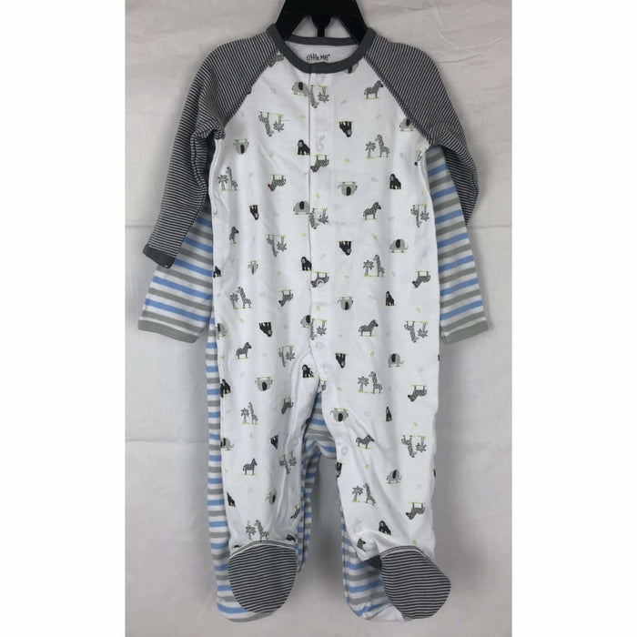 Little Me 2 Pack Footie Pajama Set Grey/blue Sleepwear