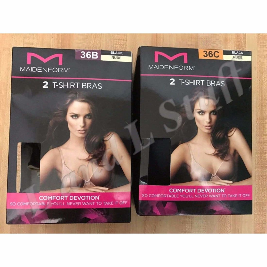 Maidenform T Shirt Bras Womens 2 Pack Open Package 34 / B / Black/nude Bras & Bra Sets