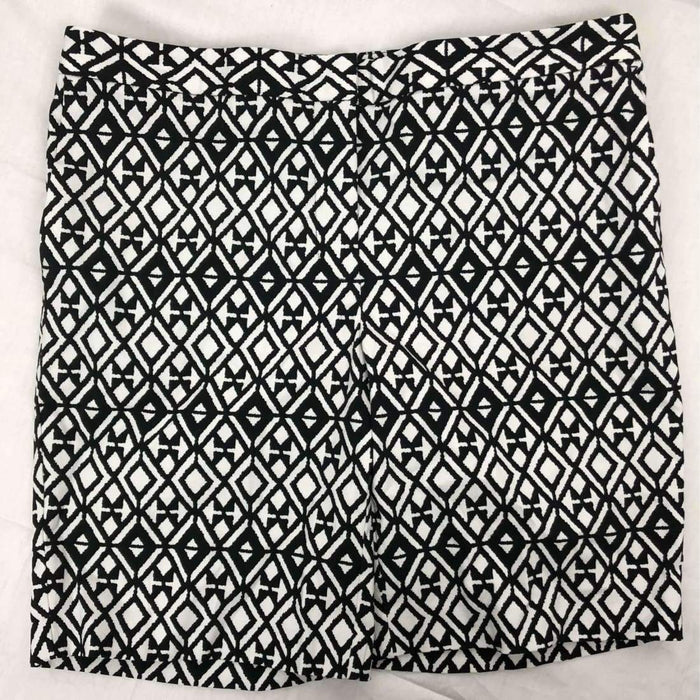 Mario Serrani Womens Italy Comfort Stretch Shorts 10 / Black/white Print Pants & Shorts