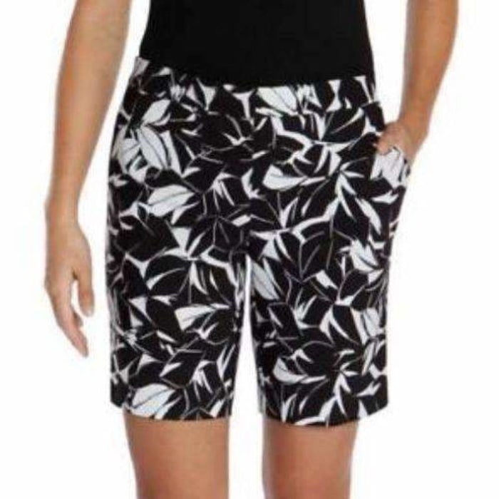 Mario Serrani Womens Italy Comfort Stretch Shorts 4 / Black-White Pants & Shorts