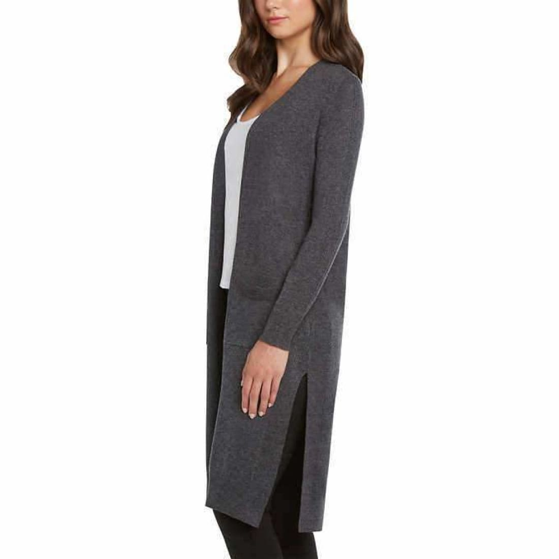Matty M Ladies Open Front Cardigan Duster (Open Package) L / Gray Cardigan Duster