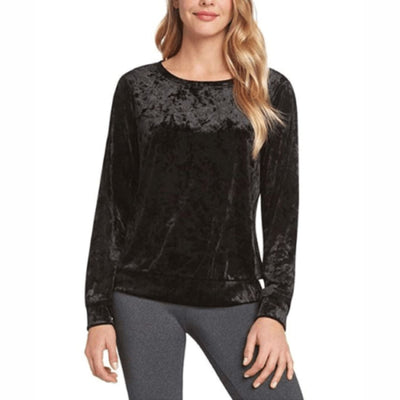 Matty M Womens Long Sleeve Velvet Top S / Black Tops & Blouses