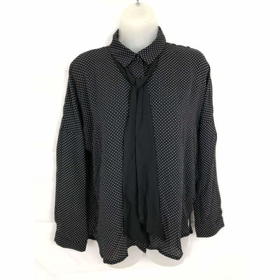 Michael Farrell Womens Button Front Long Sleeve Blouse S / Black Tops & Blouses